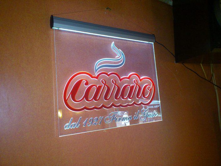Светеща табела от плексиглас за кафе Carraro