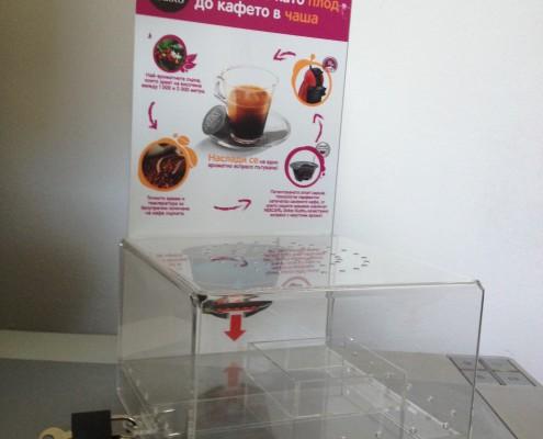 Урни и кутии от плексиглас за Nescafe