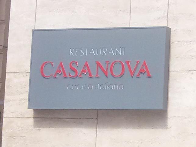Светеща фасадна реклама от инокс, плексиглас и стъкло за CASANOVA