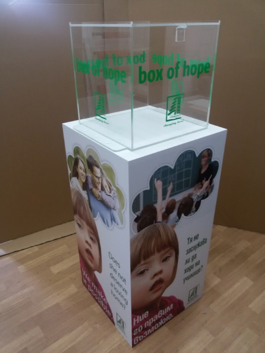 Изработка на плексигласова кутия за дарения на фондация Cedar