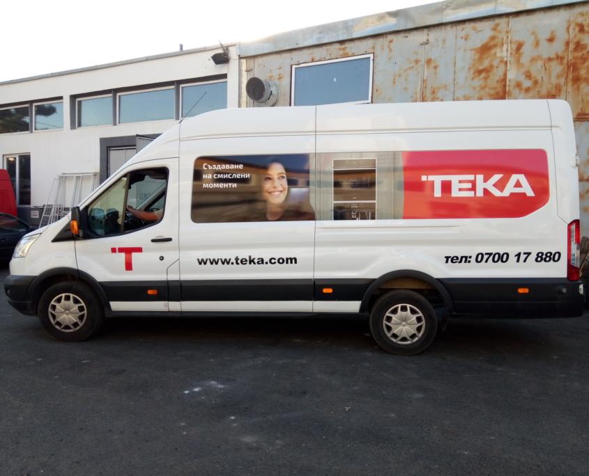 Облепване с фолио на фирмени бусове за Тека България